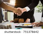 agent and customer meeting and... | Shutterstock . vector #751378642