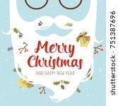 vector cartoon style santa... | Shutterstock .eps vector #751387696