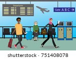 cartoon people with suitcases... | Shutterstock .eps vector #751408078