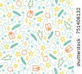 christmas doodle seamless... | Shutterstock .eps vector #751408132