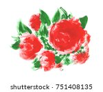 red flowers with green leaves.... | Shutterstock . vector #751408135