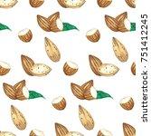watercolor illustration almond... | Shutterstock . vector #751412245