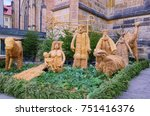 Small photo of PRAGUE, CZECH REPUBLIC - DECEMBER 12, 2014: Crafted from straw for Christmas holiday, unique allegoric Bethlehem composition near the St. Vitus Cathedral in Prague.