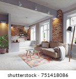 modern apartment  interior.... | Shutterstock . vector #751418086