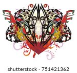 grunge tiger heart. abstract...   Shutterstock .eps vector #751421362