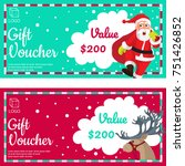 christmas gift vouchers with... | Shutterstock .eps vector #751426852