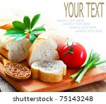 bread  and  vegetables  on a... | Shutterstock . vector #75143248