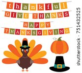 thanksgiving vector banners and ... | Shutterstock .eps vector #751432525