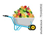 wheelbarrow and vegetables. big ... | Shutterstock .eps vector #751433932