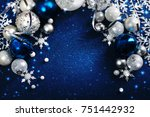 christmas decoration on blue... | Shutterstock . vector #751442932