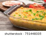 baking dish with corn pudding... | Shutterstock . vector #751448335
