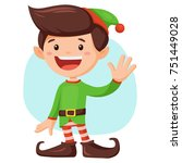cute  smiling santa's elf boy... | Shutterstock .eps vector #751449028