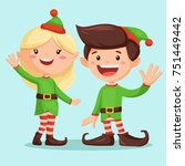 smiling santa   s elf girl and... | Shutterstock .eps vector #751449442