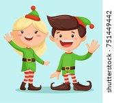 smiling santa   s elf girl and... | Shutterstock .eps vector #751449442