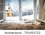 wooden table with space for... | Shutterstock . vector #751451722