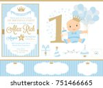 blue and gold prince party... | Shutterstock .eps vector #751466665