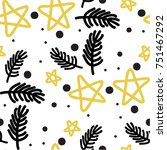 seamless pattern with gold... | Shutterstock .eps vector #751467292