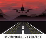 an airplane taking off at... | Shutterstock .eps vector #751487545