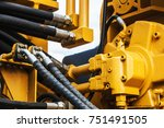 hydraulics tractor yellow.... | Shutterstock . vector #751491505
