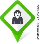 female green square pointer web ... | Shutterstock .eps vector #751494322