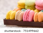 sweet colorful macaroons on the ... | Shutterstock . vector #751499662
