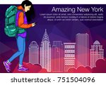 girl walking in a city with... | Shutterstock .eps vector #751504096