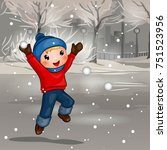 boy throwing snowball cartoon... | Shutterstock .eps vector #751523956