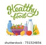 healthy food. flat illustration ... | Shutterstock .eps vector #751524856