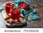 two glasses with a hot drink of ... | Shutterstock . vector #751530226