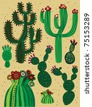 a color cactus set - stock vector