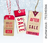 after christmas sale tags on... | Shutterstock .eps vector #751540366