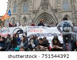 protests in barcelona on 7th of ... | Shutterstock . vector #751544392