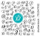 set of hand drawn modern vector ... | Shutterstock .eps vector #751547932