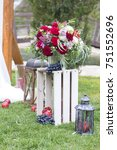 wine color flowers on a wedding ... | Shutterstock . vector #751552696