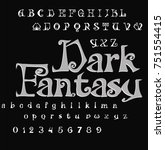 font dark fantasy   gothic font  | Shutterstock .eps vector #751554415