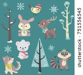 winter time baby animals vector ... | Shutterstock .eps vector #751556545