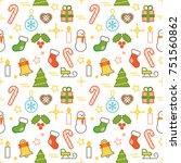 seamless illustrated christmas... | Shutterstock .eps vector #751560862