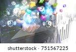 businessman holding... | Shutterstock . vector #751567225