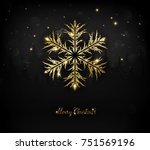 shining gold texture snowflake... | Shutterstock .eps vector #751569196