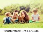 portrait of happy family of...   Shutterstock . vector #751573336