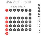 september 2018 calendar.... | Shutterstock .eps vector #751574152