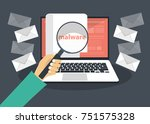document with malware in laptop.... | Shutterstock .eps vector #751575328
