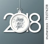 2018 happy new year celebrate... | Shutterstock .eps vector #751576258