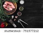 raw chicken breast fillets on...   Shutterstock . vector #751577212
