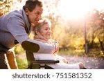 senior man and elderly woman in ... | Shutterstock . vector #751581352