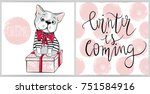 Stock vector merry christmas collection with greeting cards cute dog vector french bulldog puppy and gift box 751584916