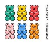 jelly gummy bears. hand drawn... | Shutterstock .eps vector #751591912