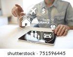 online insurance on virtual... | Shutterstock . vector #751596445