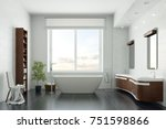 bath with bathtub and modern... | Shutterstock . vector #751598866