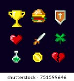 pixel art game icon set design ... | Shutterstock .eps vector #751599646
